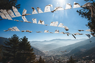 Prayer flags over Thimphu