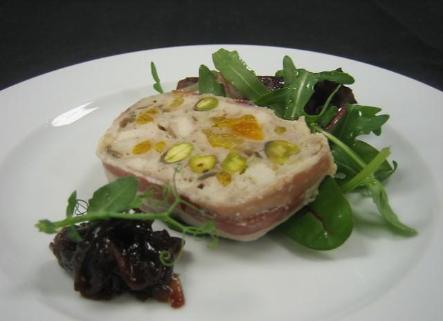 Chicken pork apricot and pistachio terrine with for Chicken and pork terrine with pistachio
