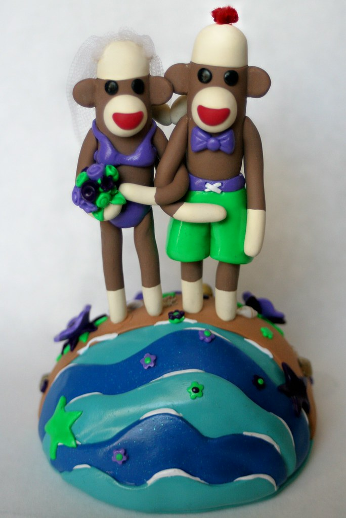 Destination Wedding Sock Monkey Cake Topper Purple Green