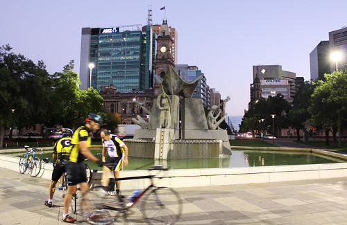 Cyclists in Victoria Square, Adelaide City
