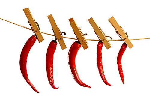 Drying chili on a string