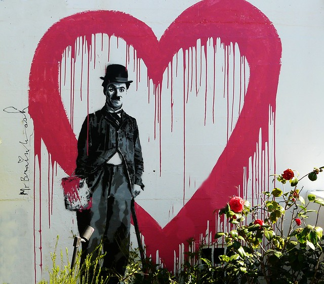 Charlie chaplin mural at doris day 39 s cypress inn carmel ca for Cypress gardens mural