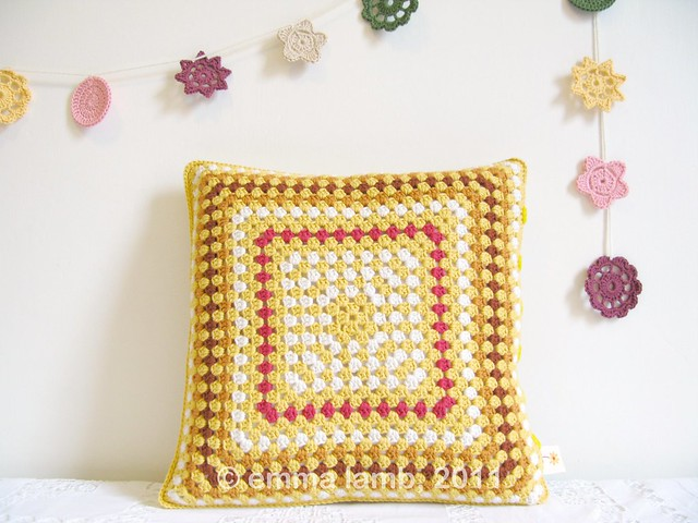 Hilda, crochet cushion by Emma Lamb