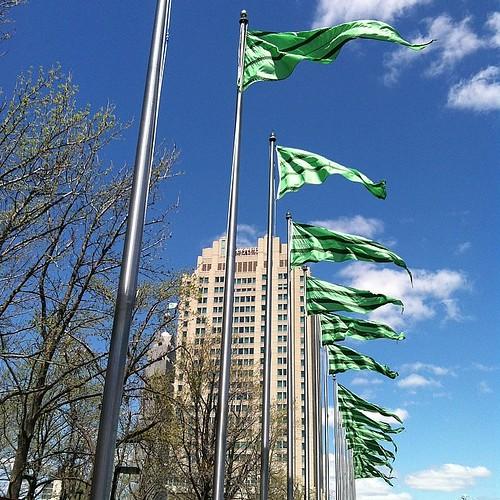 Flags near the USS Olympia #pennslanding