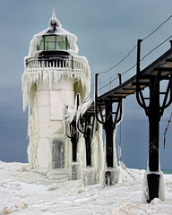"""Frozen Light"" St. Joseph Northpier Lighthouse, St. Joseph, Michigan by Michigan Nut"