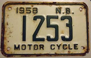 NEW BRUNSWICK, 1958 ---MOTORCYCLE PLATE