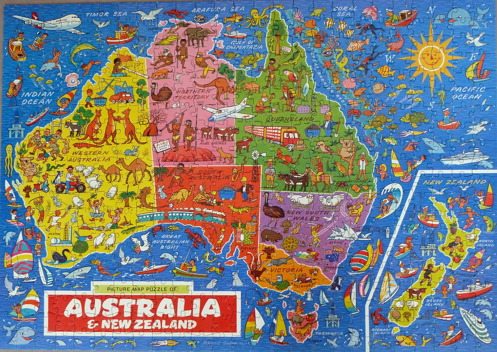 Picture map puzzle of australia new zealand a photo on flickriver picture map puzzle of australia new zealand gumiabroncs Image collections
