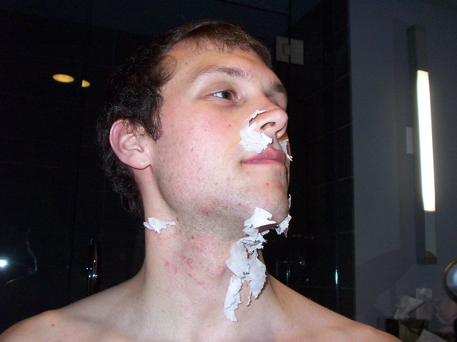 "ian's first ""man-shave"""