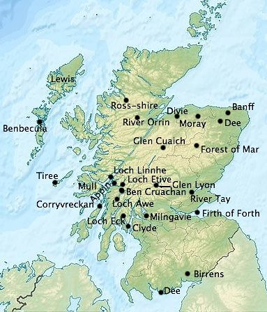 Locations associated with gods in Scotland