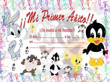 Tarjetas De Invitación De Baby Looney Tunes Imagui