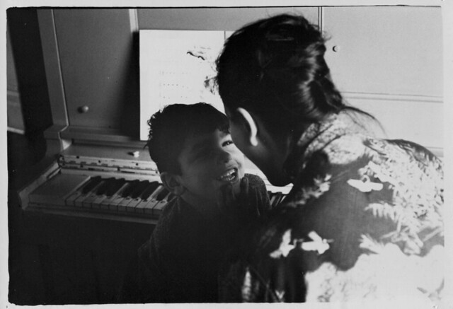 Teacher working with student at piano, St. Joseph's School for the Deaf, by William Gedney c.1960