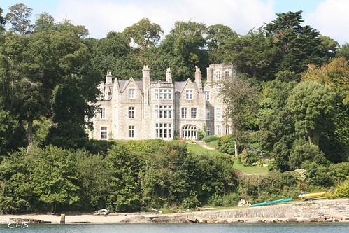Greatwood House, former manor house over looking Carrick Roads, River Fal by Stocker Images