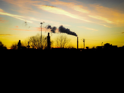 Sunset Over the Fisk Coal Fired Plant