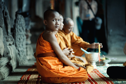 Monks Inside Angkor Wat by Jon Siegel