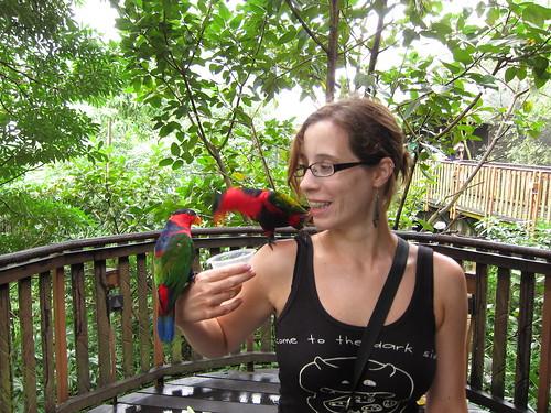Ania karmi ptaki w Jurong Bird Park