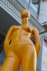 Long legged yellow girl outside Amarin Center