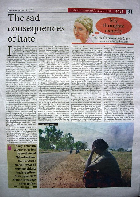 2011-1-22-Weekly Trust-column-Sad consequences of hate