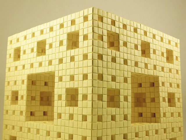 Level 3 Menger Sponge at 75% closeup
