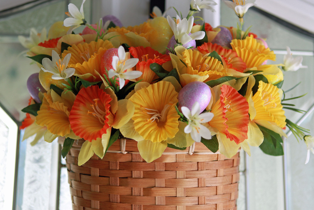 Easter Wall Basket filled with daffodils and Easter Eggs