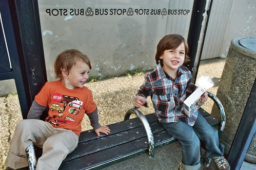 back to school errand day: truman and monroe wait for trimet