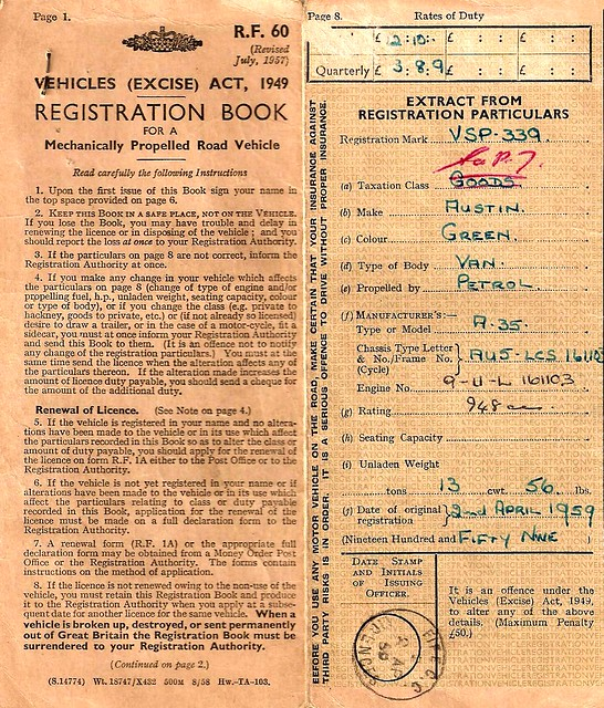 REGISTRATION BOOK For A Mechanically Propelled Road