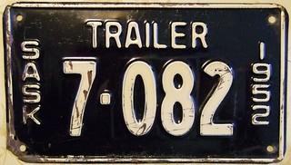 SASKATCHEWAN 1952 ---TRAILER PLATE