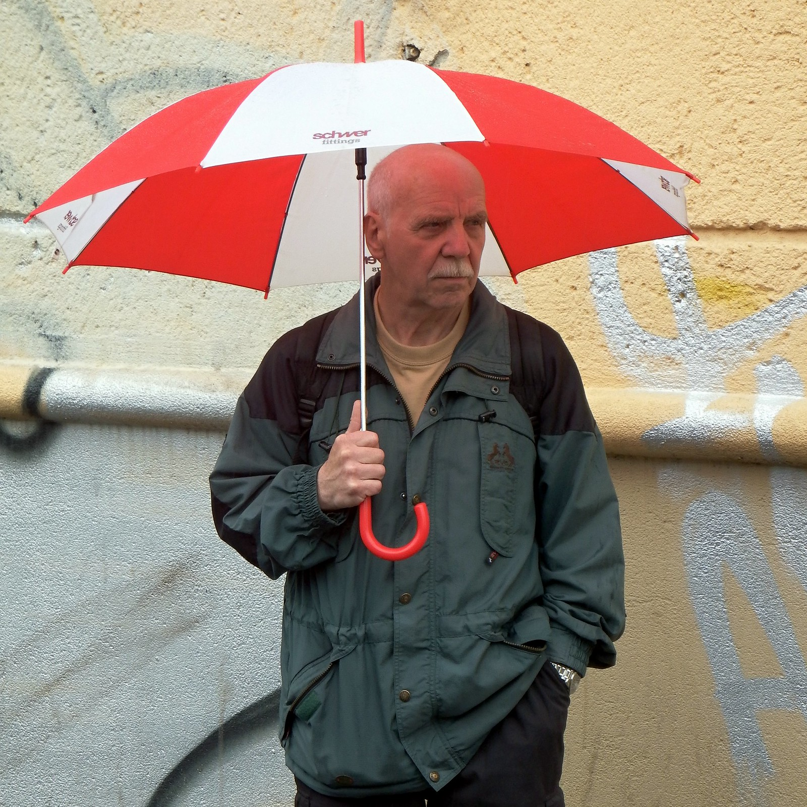 Man with Red&White Umbrella