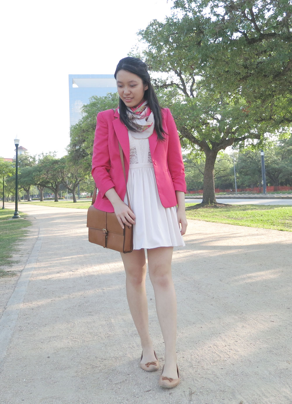 Hot pink blazer and light pink dress