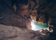 Annette traversing a gour pool in Coventosa Image