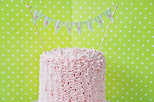 Strawberry Champagne Ruffle Cake
