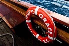vehicle(1.0), red(1.0), lifebuoy(1.0), watercraft(1.0), boat(1.0),