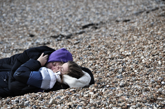 Just A Guy And A Girl Sleeping On A Pebble Beach Flickr