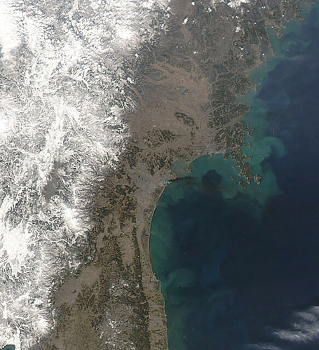 NASA Satellite View of Northeastern Japan on March 13, 2011 [detail]