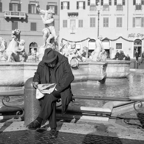 "Image titled ""Man reading newspaper, Rome."""