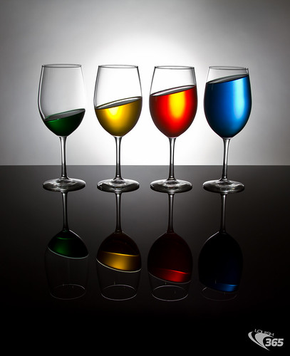 Tilted Colored Wine Glasses 091/365 by Louish Pixel