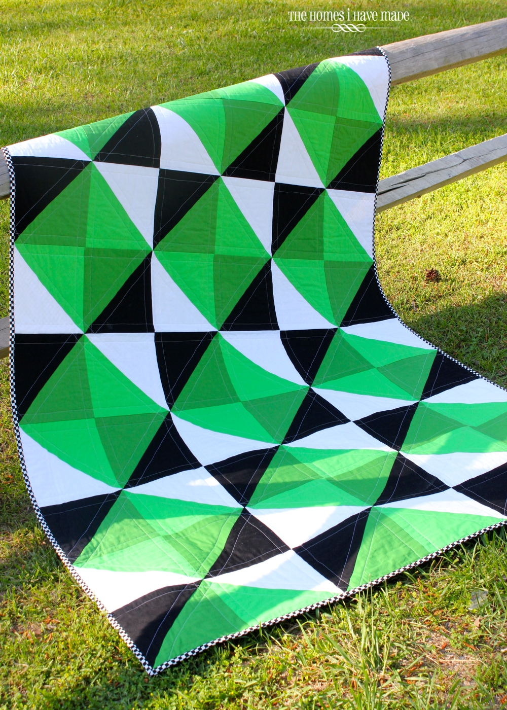 modern tag triangle scrap pink quilts quilt wombat green finished