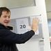Small photo of Alastair Campbell talking to staff in Election HQ