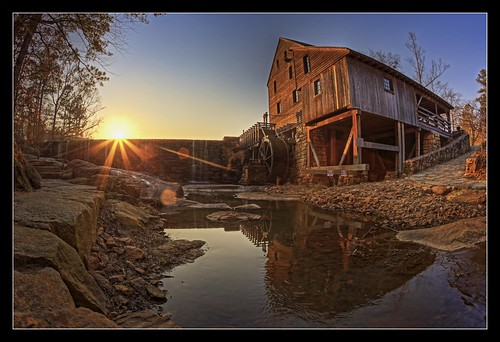 sunset mill canon nc dam northcarolina historic fisheye sunburst mills hdr waterwheel photomatix oldmills yatesmill topazadjust topazdetail