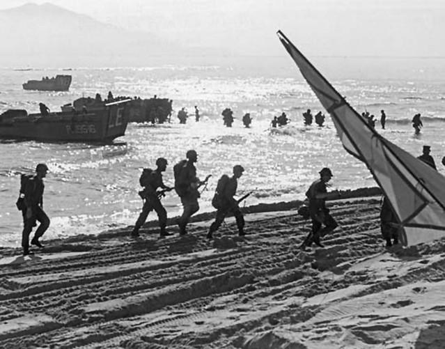 U.S. Marines wading ashore near Da Nang Air Base, South Vietnam, 1965