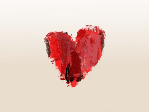 Painted/brushed heart symbol ♥ abstract love