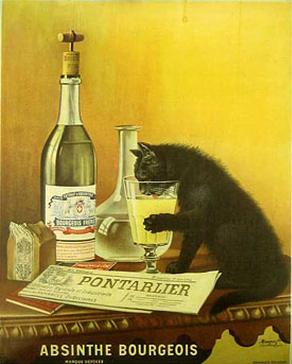 old poster-ad for Pontarlier absinthe Bourgeois