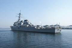 In this file photo, guided-missile destroyer USS John S. McCain (DDG 56) returns to Commander Fleet Activities, Yokosuka March 29 after participating in Operation Tomodachi. McCain and four other ships forward deployed to Yokosuka sortied May 28 to avoid Typhoon Songda. (U.S. Navy photo by Joe Schmitt)