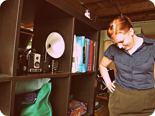 polka dot shirt green skirt3
