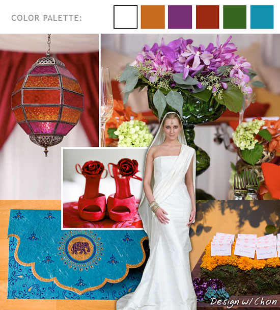 An Exotic Autumn Wedding Colors Red Violets Green Turquoise Orange