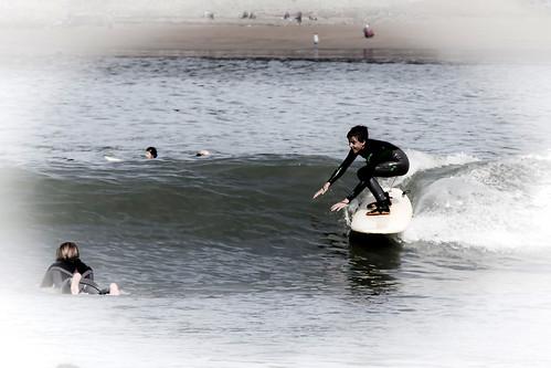 Disfrutando las primeras olas