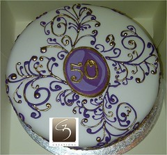 50th Birthday Cake Purple And Gold Themed