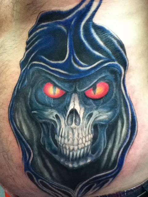 Adam G , 13 ink tattoo , griffiths. grim reaper .