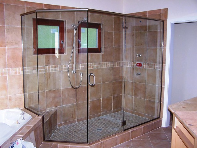 frameless door and panel shower enclosure