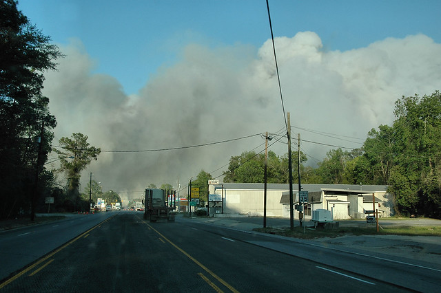 Long County Wildfire Viewed in Downtown Ludowici