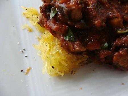 Spaghetti Squash with Mushroom Ragu